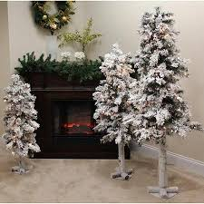 buy set of 3 pre lit flocked woodland alpine trees 3 39