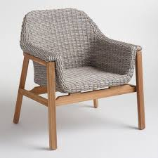Gray Armchair Gray Wicker And Wood Taormina Armchair World Market