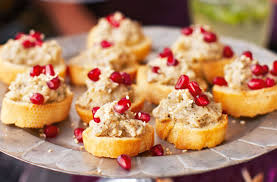 canap aubergine smoked aubergine caviar crostinis with sesame and pomegranate