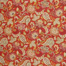 cardinal red paisley floral scroll linen print upholstery fabric