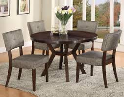 Espresso Dining Room Set by New 5pc Sola Espresso Finish Wood Round Dining Table Set W Gray
