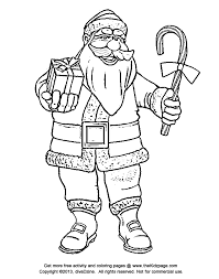 santa claus candy cane free coloring pages kids