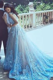 blue wedding dresses a line blue sleeveless tulle wedding dress 2017 with chapel