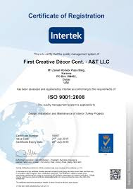 Certificate Of Interior Design by A U0026t Group Interiors Was Awarded Iso 9001 2008 Certification