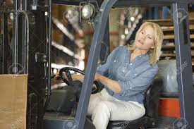Forklift Truck Driver Jobs Woman Driving Fork Lift Truck In Warehouse Stock Photo Picture