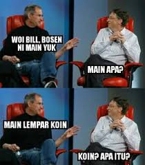 Bill Gates And Steve Jobs Meme - steve jobs vs bill gates meme bonus polosan 1cak for fun only