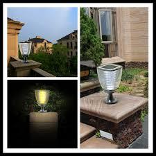 Patio Pillar Lights Solar Powered Decorative Led Outdoor Garden Pillar Light View