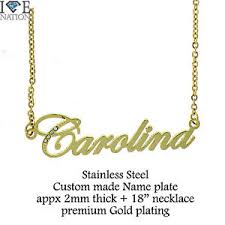 ebay name necklace images New gold plating carolina nameplate name pendant with 18 quot chain jpg