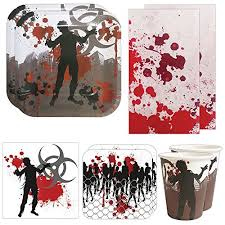 walking dead party supplies deluxe party packs 70 pieces for 16 guests party