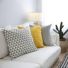 housse de coussin de canapé moderne canapé housse de coussin jaune gris coton taie d oreiller de