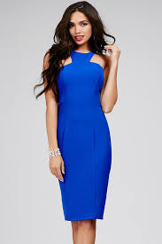 blue dress royal knee length sleeveless blue dress with a zipper