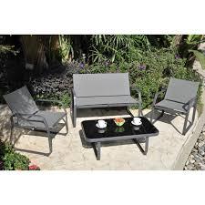 canap fauteuils palmeri salon de jardin 1 canapé 2 fauteuils et table basse achat
