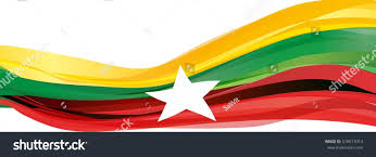 Flags That Are Orange White And Green Yellow Green Red White Fivepointed Star Stock Illustration