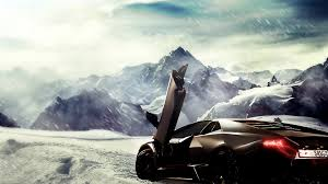 butterfly doors mountains winter snow cars cartoonish lambo artwork