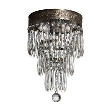 Flush Mount Chandelier Petite Antique Neoclassical Three Tiered Silver Plate Flush Mount
