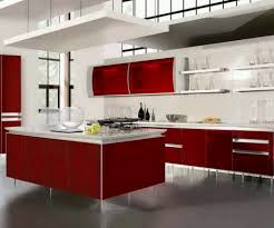 kitchen gray tile floor red and white cabinets sink faucet red