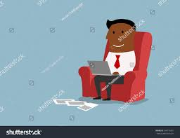 cartoon african american businessman working laptop stock vector