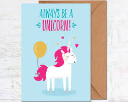 card birthday unicorn card etsy