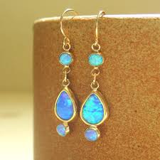 turquoise opal earrings opal earrings 14k gold opal drop earrings blue opal