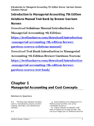 introduction to managerial accounting 7th edition solutions manual