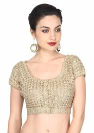 saree blouses gold blouse adorn in croquet lace work only on kalki kalkifashion