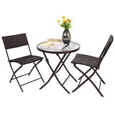 Patio Furniture Set by 3 Pcs Bistro Folding Table Chair Set Outdoor Furniture Sets
