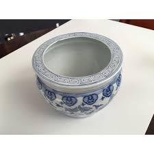 blue u0026 white chinese fish bowl style planter chairish