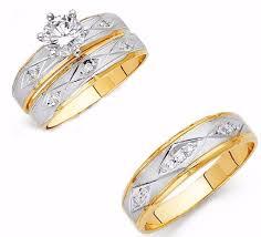 yellow gold bridal sets 14k yellow gold cut engagement ring diamond trio wedding