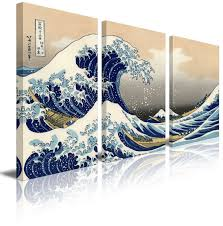 How To Hang Art Prints Amazon Com Wall26 3 Panel Canvas Print Wall Art The Great Wave