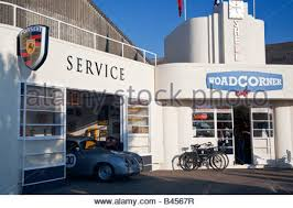 art deco style of the woad corner car sales showroom of 1940s