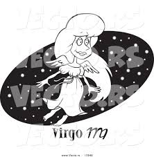 oval coloring page vector of a cartoon virgo woman over a black starry oval