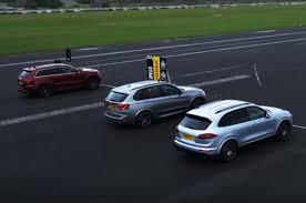 porsche cayenne vs bmw x5 autocar drag race jeep grand srt vs porsche cayenne