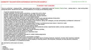 chemistry teacher work experience certificate
