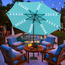9ft 24 led light outdoor market patio umbrella garden pool with