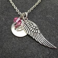 handmade angel necklace images Personalized guardian angel wing necklace with custom initial jpg