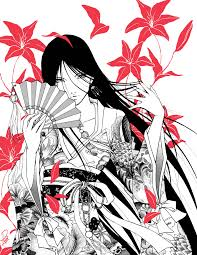 geisha stylish with japanese fan design surripui