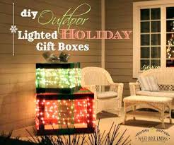 outdoor lighted gift boxes front porch decor