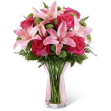 bouquet of lilies vestal pink bouquet at send flowers