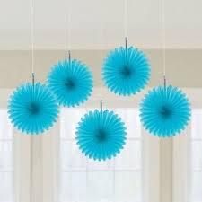 hanging paper fans 5 x aqua blue paper fans hanging decorations caribbean blue party