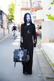 blue haired harajuku in all black killstar hooded dress