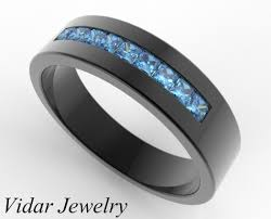 mens blue wedding bands men s blue diamond wedding band in black gold vidar jewelry