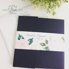 wedding invitations queensland paper invites navy pocket invitation with pink watercolour
