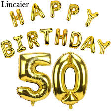 birthday balloons for men lincaier 32 inch 62 cm 50th birthday gold balloons happy 50 years