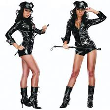 Halloween Police Costume 2016 Police Women Costume Black Pu Zipper Exotic Costumes