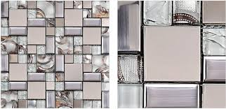 glass mosaic tile backsplash ssmt111 silver metal mosaic stainless
