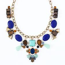 blue stones necklace images Mixed stones necklace navy blue and mint statement bib jpg