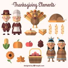 pack of food and thanksgiving characters in flat design vector
