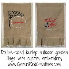 Welcome Flag Burlap Ruffled Embroidered Garden Flag Double Sided Geminired