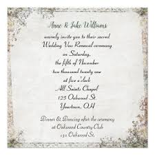 wedding vow cards wedding vow renewal fashioned floral border card invitations