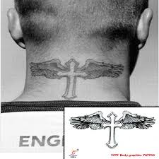 temporary tattoos neck back cross wings makeup spray